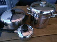 two stainless steel cooking pots Windsor, N8W