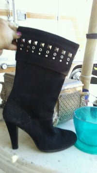 Michael Kors Black studded suede leather boots  Stockton
