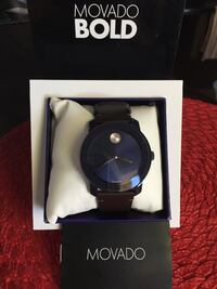 New!! MOVADO BOLD Blue dial, Brown leather$150