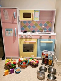 Kids craft play kitchen and accessories