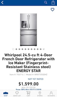 New Whirlpool 24.5 cu ft 4 door french door refrigerator with ice maker(Fingerprint resistant) stainless steel  43 km