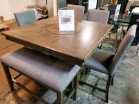 Counter height dining table and chairs with bench Pineville, 28134