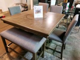 Counter height dining table and chairs with bench