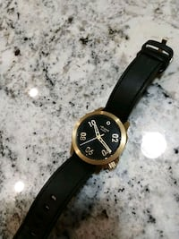 round gold-colored analog watch with black leather strap Edmonton, T5H 3S4