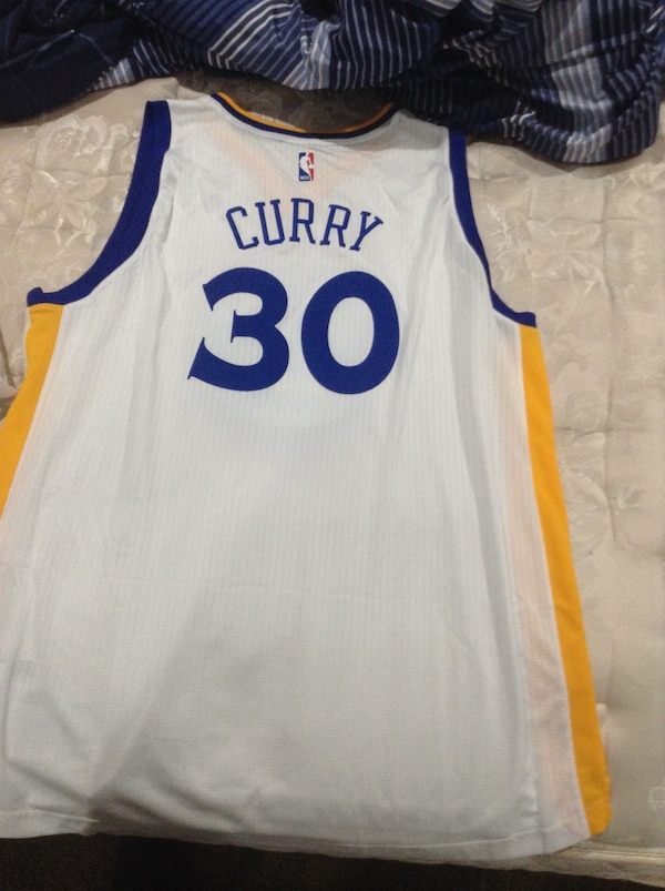 sports shoes 48a2f 4e683 white and blue Golden States Warriors Stephen Curry 30 jersey