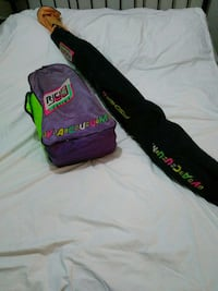 purple green backpack