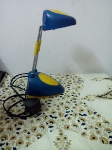 blue and yellow desk lamp
