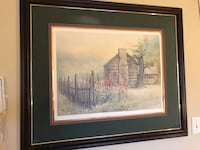 Ben Hampton Brown wooden framed painting of house frames without the glass  Chickamauga, 30707