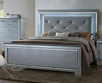Lillian Silver LED Queen Panel Bed | B7100   Houston, 77036