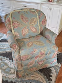 Upholstered swivel club chairs (1-$100; 2-$175)