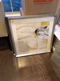 Cream, Yellow and Black Zgallerie Art. Set of 2 $50 each. Brand new.  Forest Heights, 20745