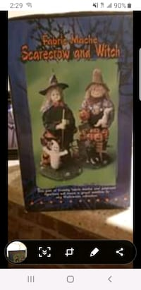 Fabric mache scarecrow and witch