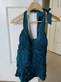 Brand new with tags Bebe teal blue halter top