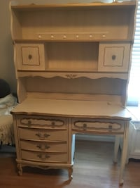 Vintage French provincial style desk with hutch