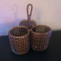 Vintage French Wicker Wine Holder