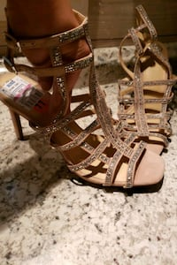 brown leather open-toe heeled sandals Panama City Beach