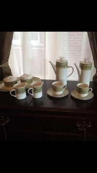 Coffee and Tea Set in an elegant pattern.