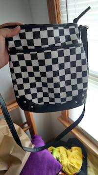 black and white checkered leather backpack JOHNSTOWN