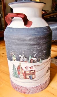 Antique milk can - winter scene beautifully hand painted by local artist CALGARY