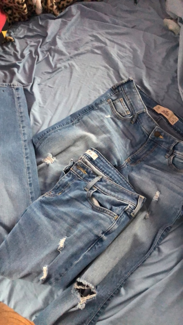 Blue denim distressed jeans