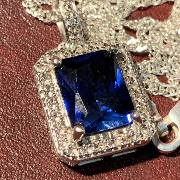 Genuine Sterling Silver Sapphire Halo Pendant with Sterling Chain 2f62e3a7-8be2-4fbe-80bb-93eb24ce7943