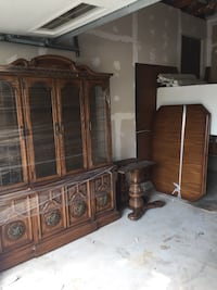 brown wooden framed glass display cabinet Perry