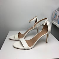Pair of white leather open-toe ankle strap heels Seattle, 98118