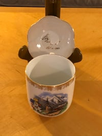 Czechoslovakia Antique Cup Of Austrian Mountain With Saucer