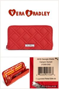 women's quilted red Vera Bradley leather wallet collage with text overlay