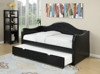 Brand New Leila Black Faux Leather Twin Daybed with Trundle by Poundex Лос-Анджелес