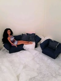 Barbie doll and couch and chair