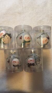 Snow man print baubles 10.00 for all