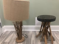 Wood stool and lamp set Burr Ridge, 60527