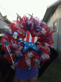 red and blue ribbon wreath Corpus Christi, 78413