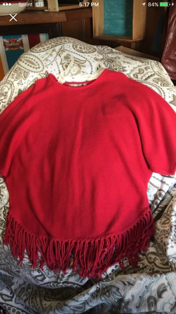 New York collection women's red poncho sweater size XL