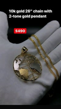 """10k real yellow gold 26"""" chain with 2-tone pendant  Toronto, M1K 1N8"""