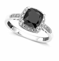 Sterling Silver Onyx and Diamond Accent Ring Franklin Square, 11010