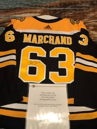 Hand signed Brad Marchand Adidas Game Jersey with COA Shirley, 01464
