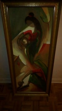 Make a offer .brown wooden framed painting of women. Make a offer