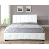 White Leather Tufted Bed Frame (Queen ) Vancouver, V6E