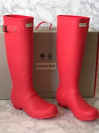 NEW HUNTER ORIGINAL Wellies Coral Red Pink size 8 women Lyndhurst, 07071