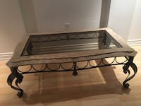 Coffee table and side table end marble glass rod iron metal heavy duty with nice detail in excellent condition 2 piece lot Richmond Hill, L4E 4S4