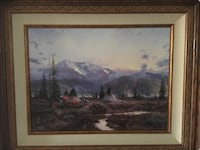brown wooden framed painting of house Riverview, 33578