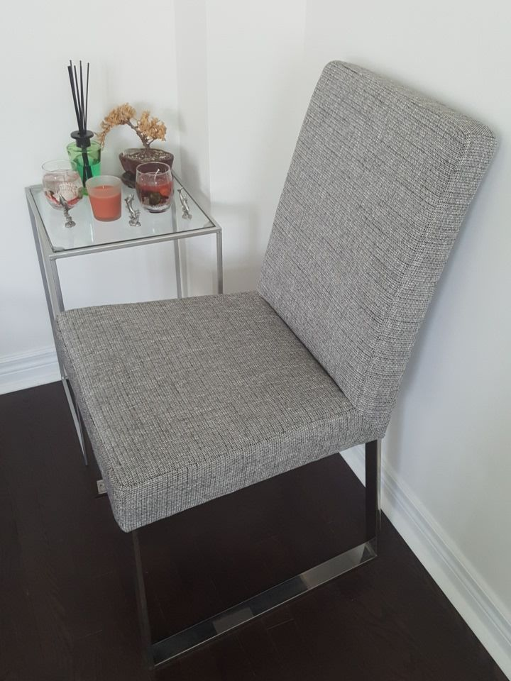 gray chair and side table