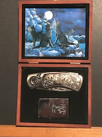 Collectible pocket knife with lighter medallion box