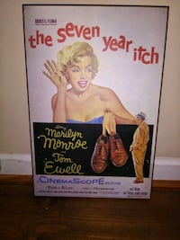 """Marilyn Monroe & Tom Ewell """"Seven Year Itch"""" vintage canvas plaque"""