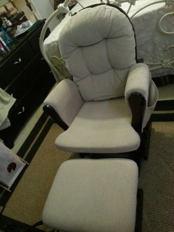 white and brown glider chair  include ottoman