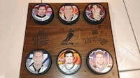 NHLPA Top Dogs Hockey Plaque Top 6 Players-Linden, Iginla, Smyth, Roberts,Lalime, Koivu.  Collectible Pucks on a wooden plaque.  VIEW MY OTHER ADS!!! Toronto