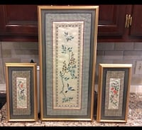 "3 oriental Silk Bird Prints-2 Small are 14"" x 7"" - large one 26"" x 13"""