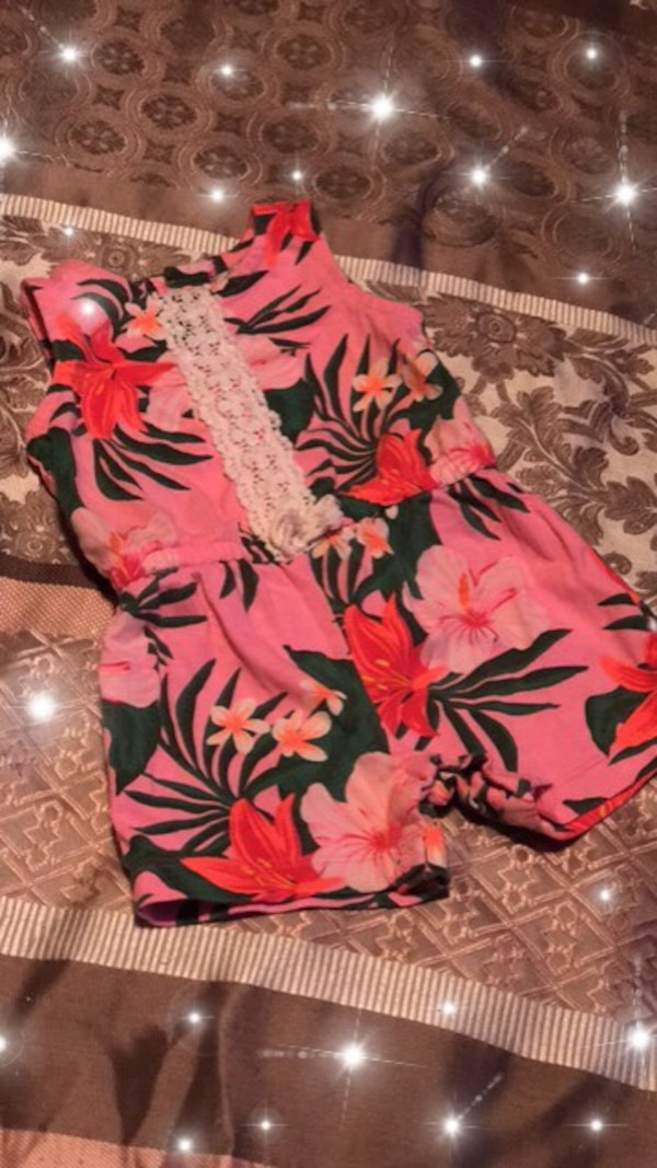 Red and white floral textile